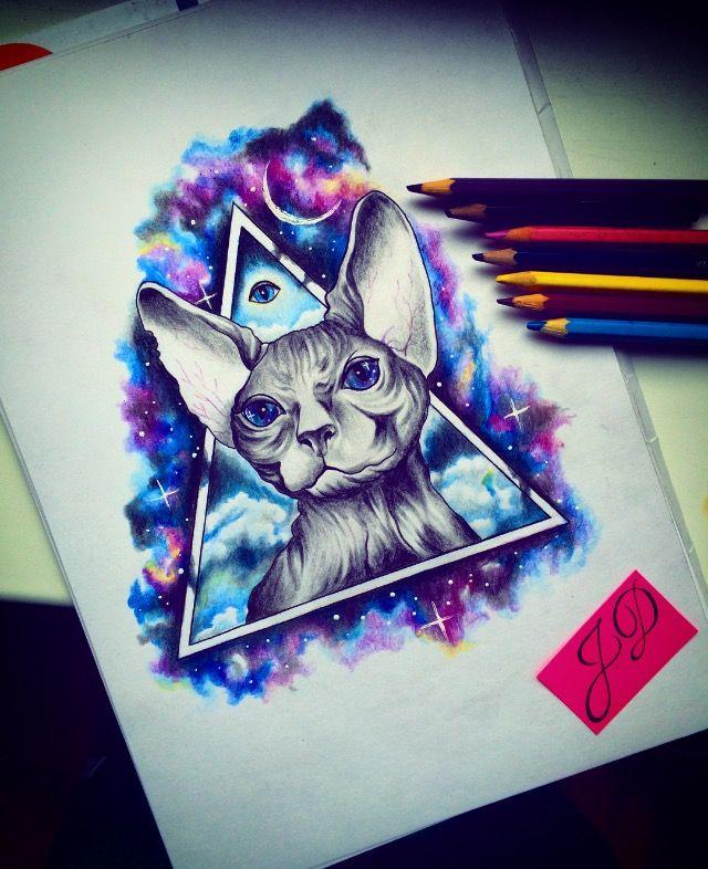Cosmocat #jdtattoostudio <em>эскизы тату с кошками сфинксами</em> #tattoo #space #cat #кот #космос #эскиз #сфинкс #sphinx #акварель #watercolor #aquarelle #sketch #jd #тату #татуировка