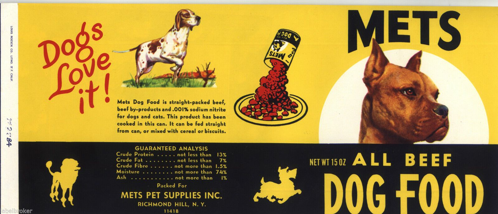 Mets Dog Food Can Label Richmond Hill New York Original 1960 S