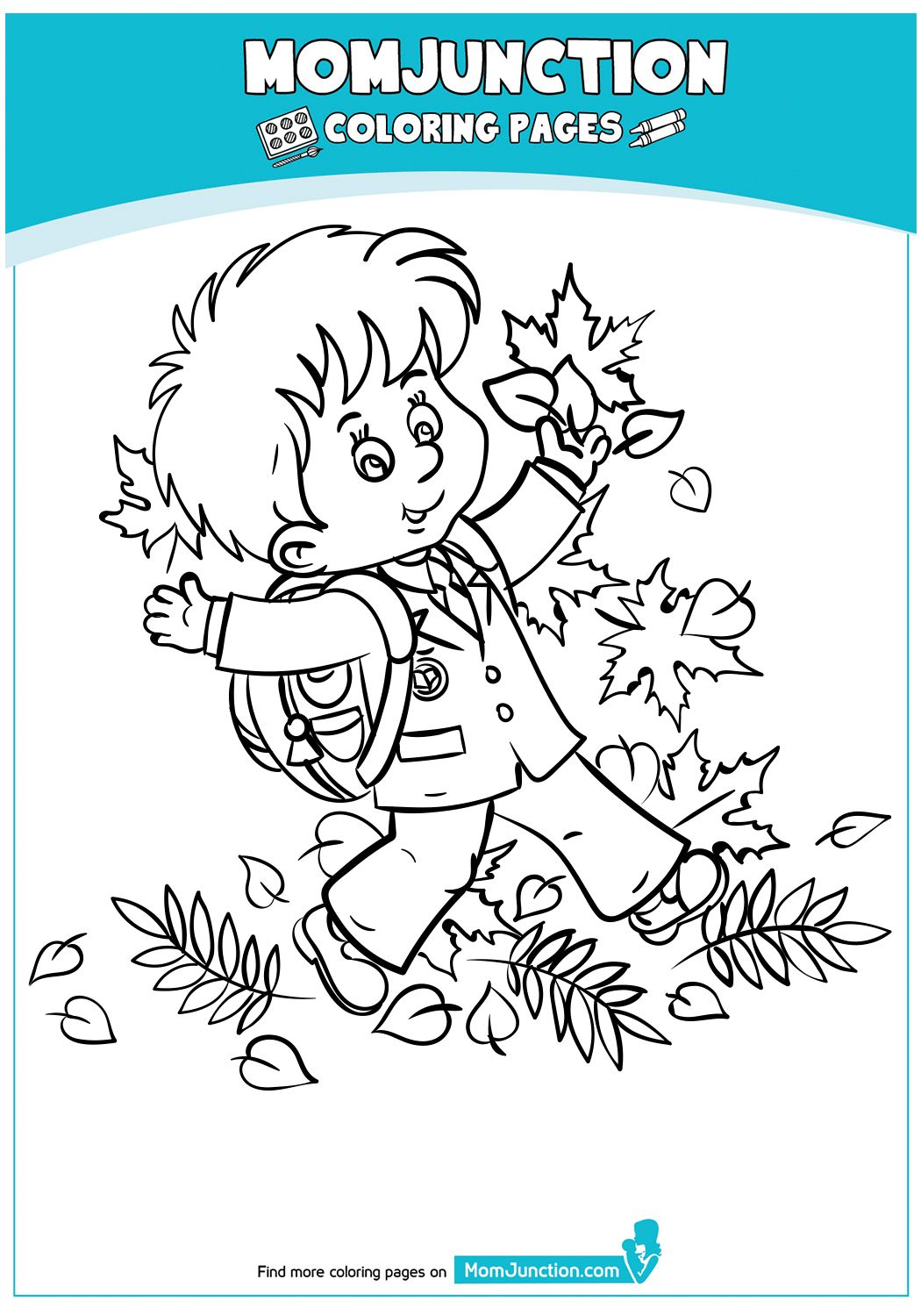 Schoolboy Autumn Leaves Coloring Pages Fall Coloring Pages Coloring Pages For Boys