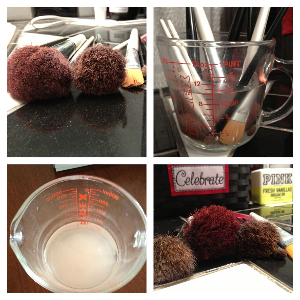 Makeup brush cleaner pin hot water with tablespoon of