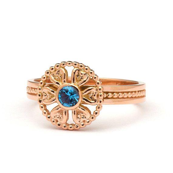 Artistic Flower Blue Topaz Engagement Ring in by JulietAndOliver, $390.00