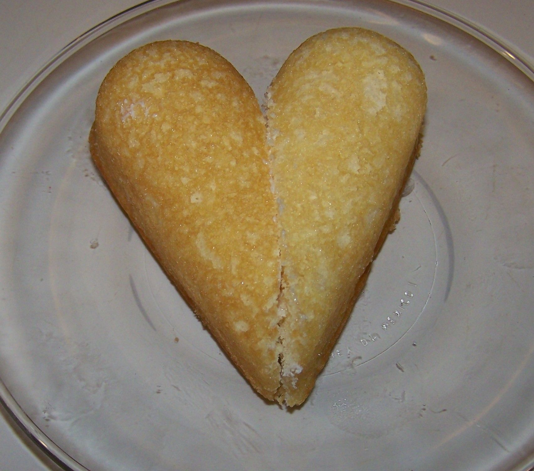 Twinkies, cut and pushed together to make an abosolutely appetizing Valentine's Day treat.