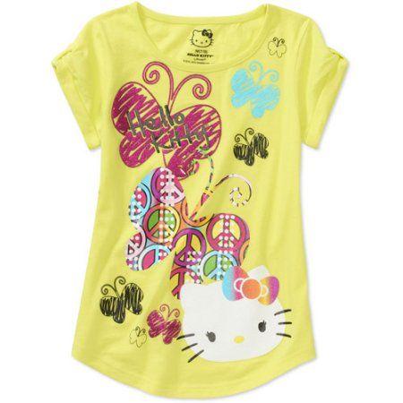 Hello Kitty Girls Short Sleeve Graphic Tee, Yellow