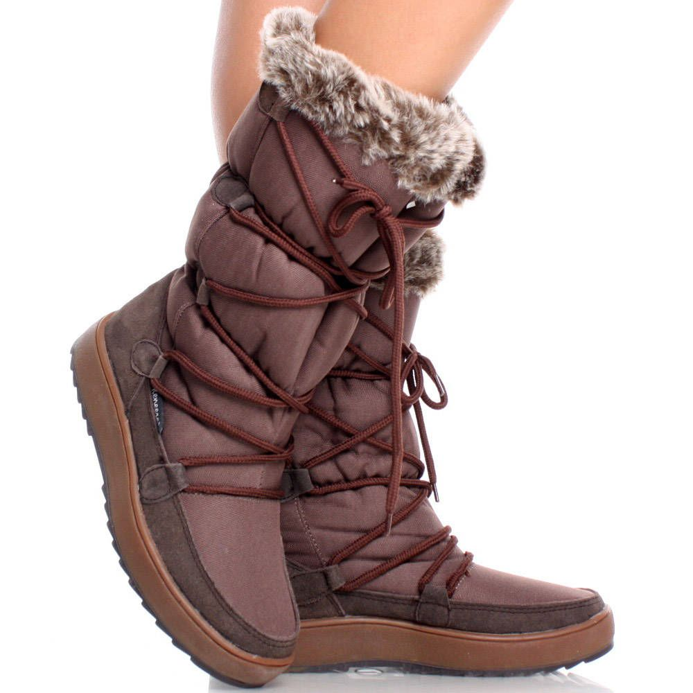 Hot Winter Womens Faux Suede Warm Fur Lining Winter Mid Calf Boots Shoes Chic**