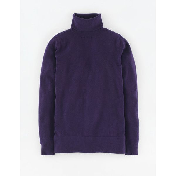 Boden Favourite Roll Neck Sweater ($54) ❤ liked on Polyvore featuring tops, sweaters, deep purple, roll neck top, knit sweater, knit top, rollneck sweaters and blue knit sweater