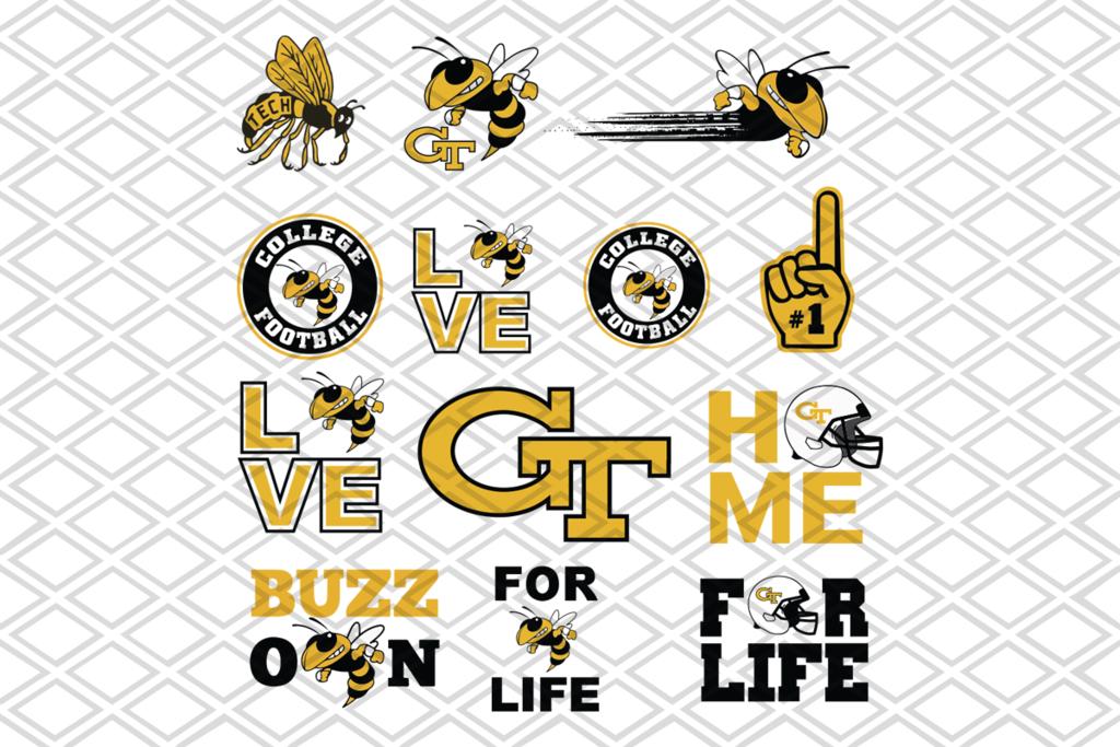 Tech Yellow,bundle NFL team svg football team logo