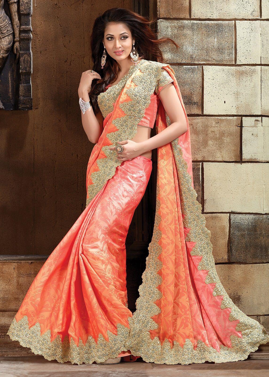 Buy peach pure jacquard designer saree in usa uk and