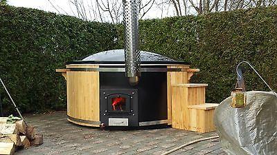 badetonne badefass badezuber badebottich aus gfk mit edelstahlofen integriert pool. Black Bedroom Furniture Sets. Home Design Ideas