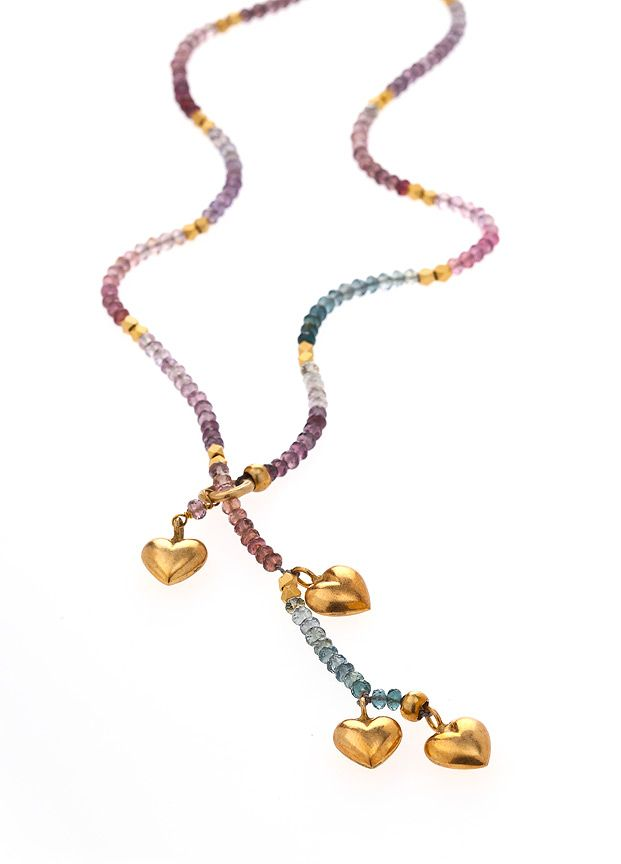 Gold heart and spinel gemstone lariat style necklace