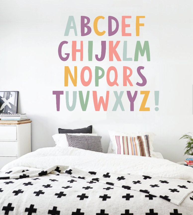 Alphabet Boys Nursery Abcs Wall Decals Learning Set Letters Children Safe Vinyl Kids Decal
