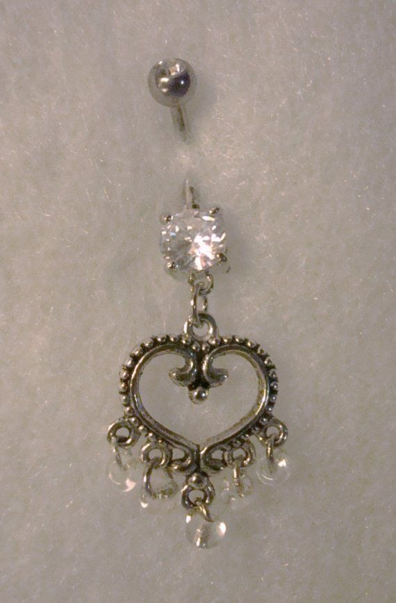 Sparkly Belly Button Rings | Bridal Sparkle Heart Belly Button Ring by justbeachyshop on Etsy