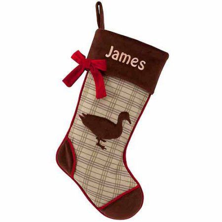 personalized rustic woodland christmas stocking available in different animals - Walmart Christmas Socks