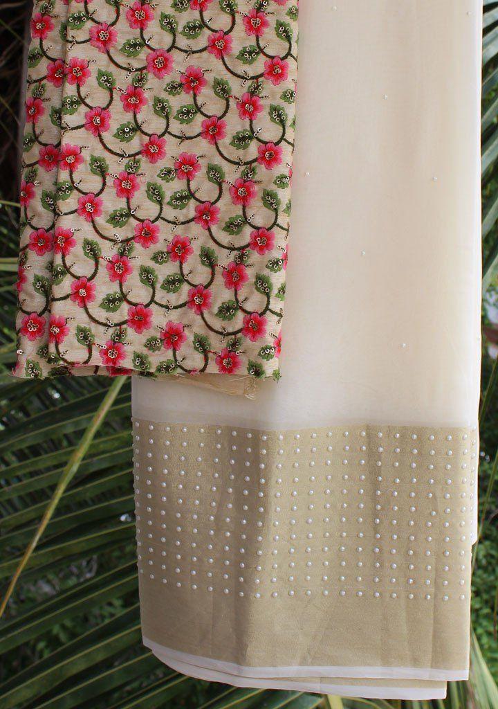 b4bd35e79ae5fe Cream moti-work saree with embroidered blouse piece   Simple Sarees ...