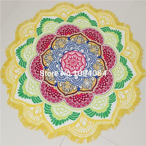 6b301d02de528 Drop Shipping Tassel Indian Mandala Tapestry Lotus Printed Bohemian Beach  Towel Yoga Mat Sun block Round Bikini Cover-Up Blanke