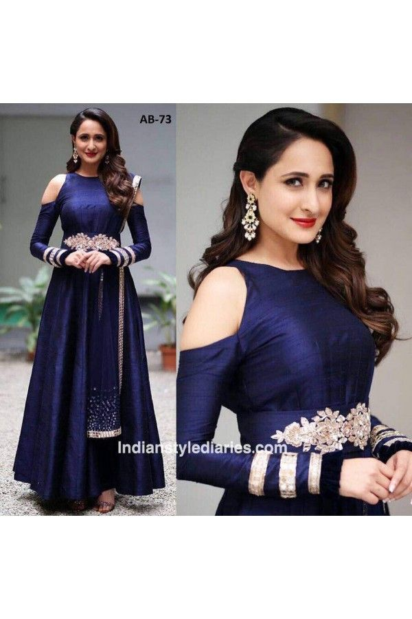 39ed0d99be55 Bollywood Inspired - Party Wear Navy Blue Silk Gown - AB-73Blue ...