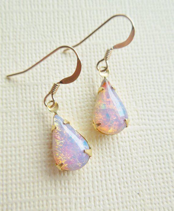 038aeb8e9 Vintage Fire Opal Earrings - Vintage Glass Harlequin Opal Earings,  Teardrop. Gold Filled, Birthstone