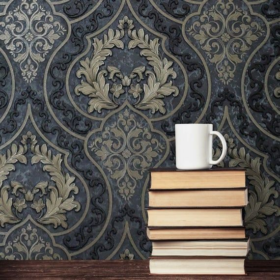 Best Wallpaper Victorian Damask Charcoal Grey Black Bronze 400 x 300