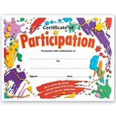 Participation Certificate School Award Certificates School