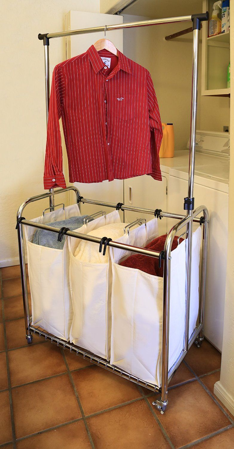 Seville Classics 3 Bag Laundry Sorter With Hanging Bar Divided