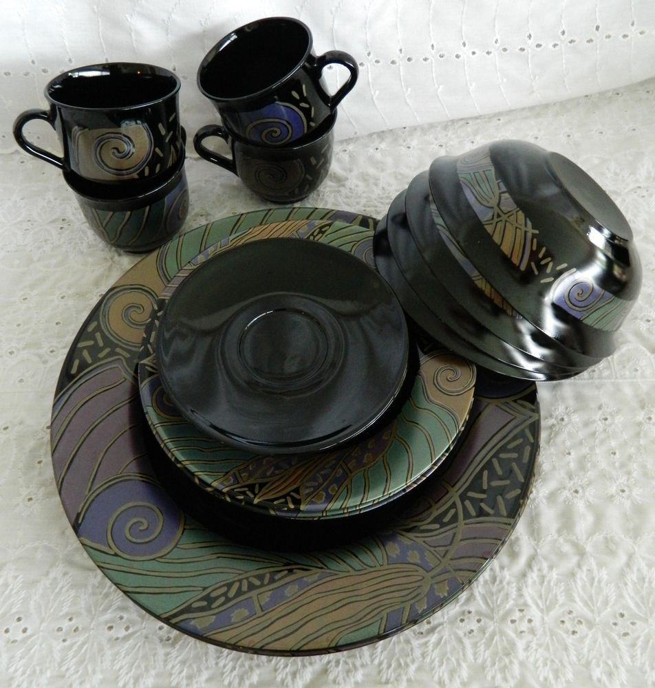 20 Piece Service for 4 Arcoroc Tampico Dinnerware Black Glass Plates ...