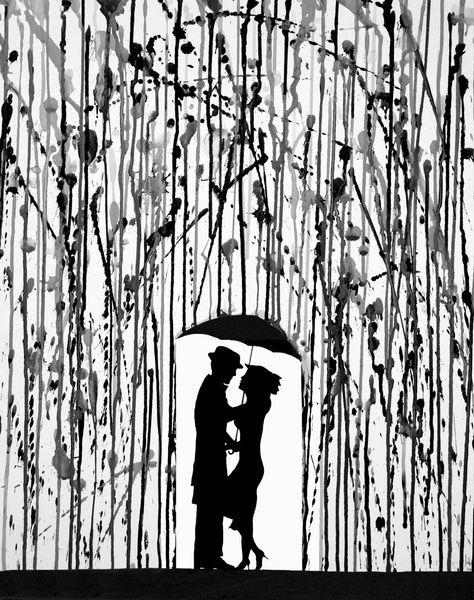 Film Noir Art Print - a couple standing under an umbrella in the rain