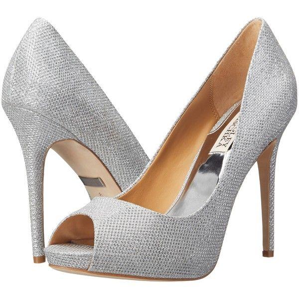 Badgley Mischka Ponderosa (Silver Diamond Drill Fabric) High Heels ($156) ❤  liked