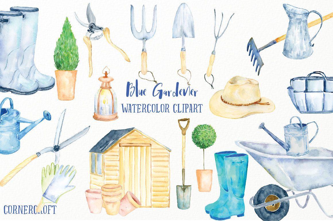 Watercolor Clip Art Blue Gardener Blue Theme Garden Tools