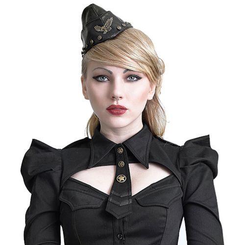 8eb57316a Women Black Leather Gothic Military Dress Beret Hats SKU-71108026 ...