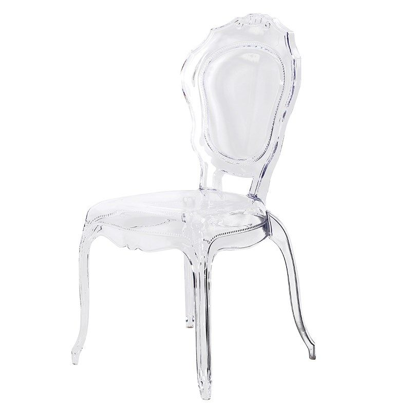 Clear Kitchen Chairs: Clear Plastic Ornate Ghost Chair [COA_ZTF006]