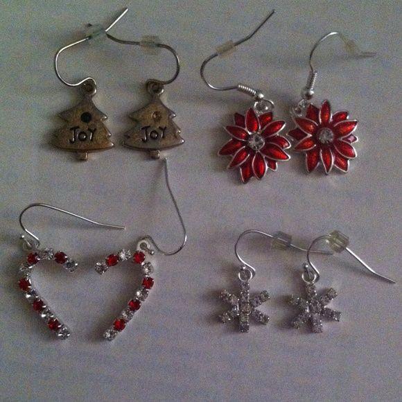 Christmas earrings Christmas tree, flower, snowflake, candy cane earrings. jcpenney Jewelry Earrings