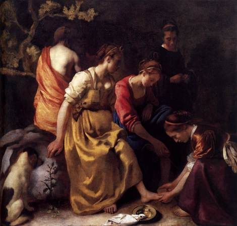Johannes Vermeer, Diana and her Companions, 1653-56. A very quiet moment in a scene that ends in an intrusive male presence; beautiful, but fagile, typically Vermeer. There are clear religious overtones - dove like napkin, bowl, foot washing - have strong Catholic associations. These references may have had to do with the fact he'd just married a Catholic (one several social rungs above his station).