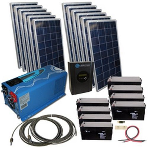 1650 Watt Solar With 2000 Watt Pure Sine Power Inverter Charger 120vac 48vdc Solar Kit Solar Heating Solar Panels