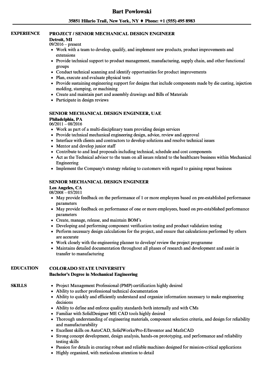 Senior Mechanical Design Engineer Resume Samples Velvet Jobs Great Senior Mechani Mechanical Engineer Resume Engineering Resume Engineering Resume Templates