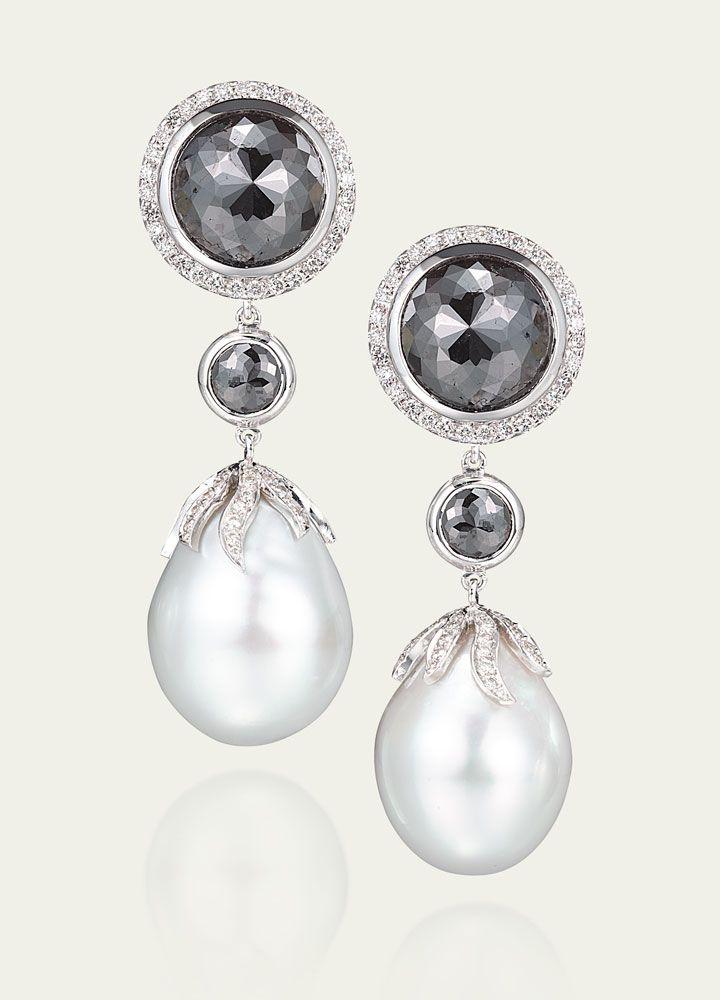 Earrings Tamsen Z White Baroque Pearl Black Diamond