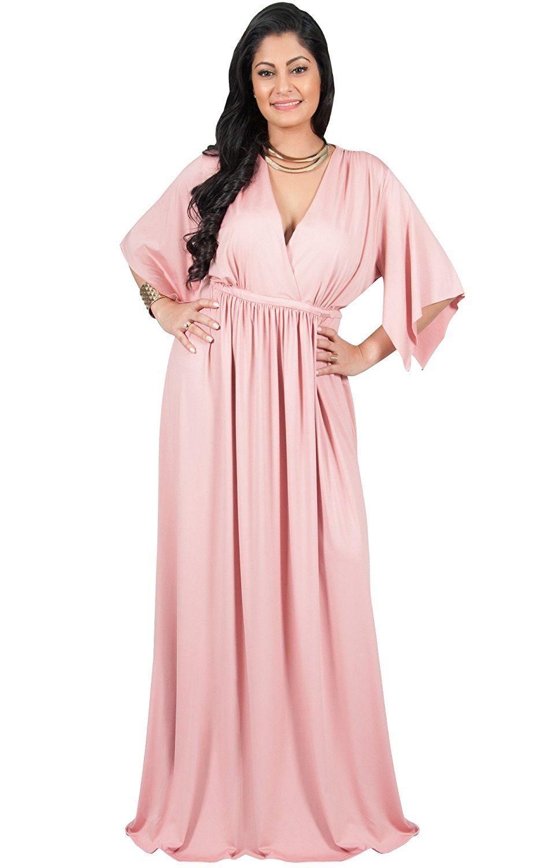 afaa48eb5f4 Adelyn   Vivian Plus Size Womens Long V-Neck Kaftan Short Sleeve Maxi Dress  at Amazon Women s Clothing store