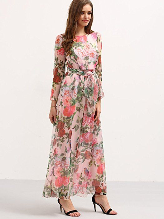 083ce112934b Floerns Women's Long Sleeve Chiffon Rose Print Spring Maxi dress Pink XS