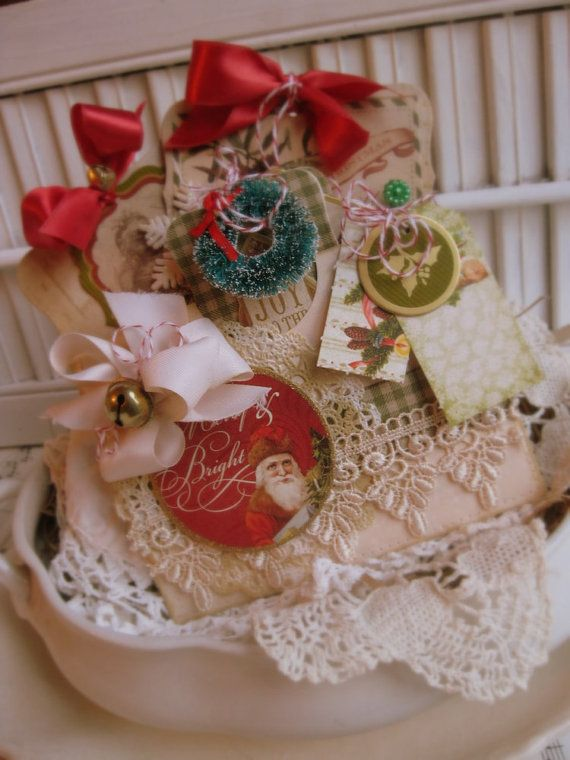 shabby chic VICTORIAN SANTA pocket full of tags treat bag christmas decoration