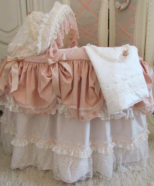 Shabby Baby Bassinet Baby Bed Shabby Chic Baby Nursery Shabby Chic Baby