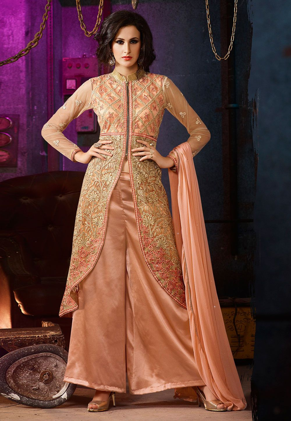 ea0f8789b8 Embroidered Net Jacket Style Pakistani Suit in Peach | Wedding ...