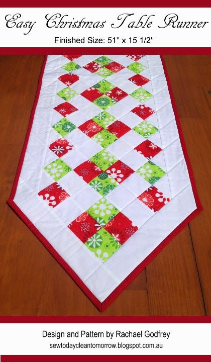 Christmas Table Runner Patterns Free.Easy Christmas Table Runner Pattern Free Pattern Download