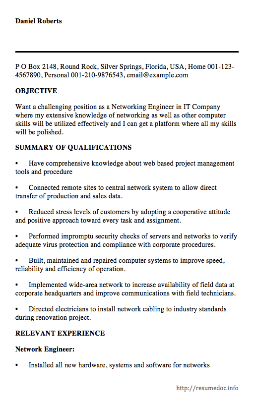 Here Is The Free Sample Of Networking Engineer Resume You Can