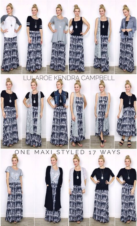 One LuLaRoe maxi skirt styled 17 different ways! Click the link to join my  facebook