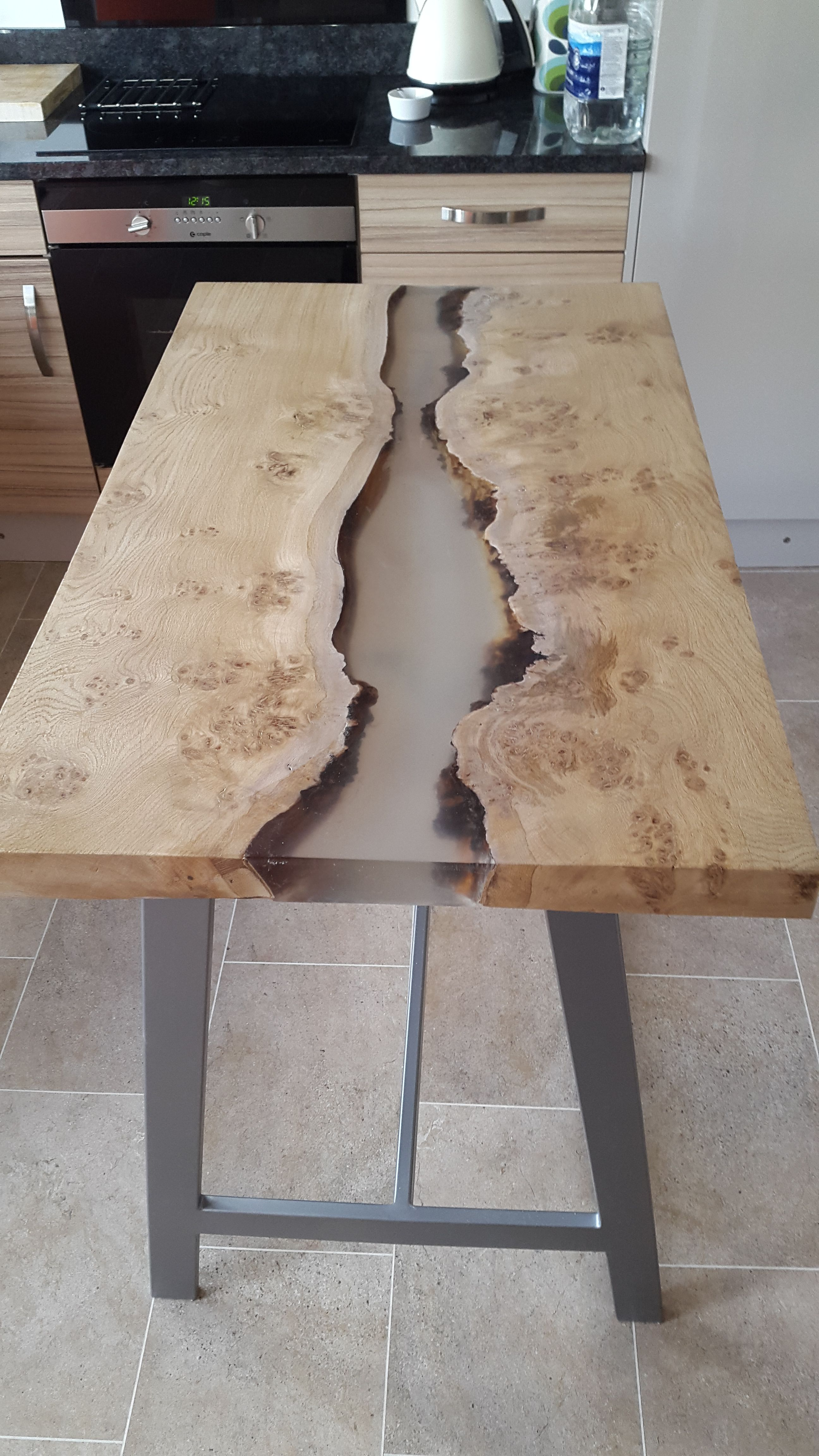 Resin River Kitchen Table Kitchen Table Wood Live Edge Wood Table Resin Table