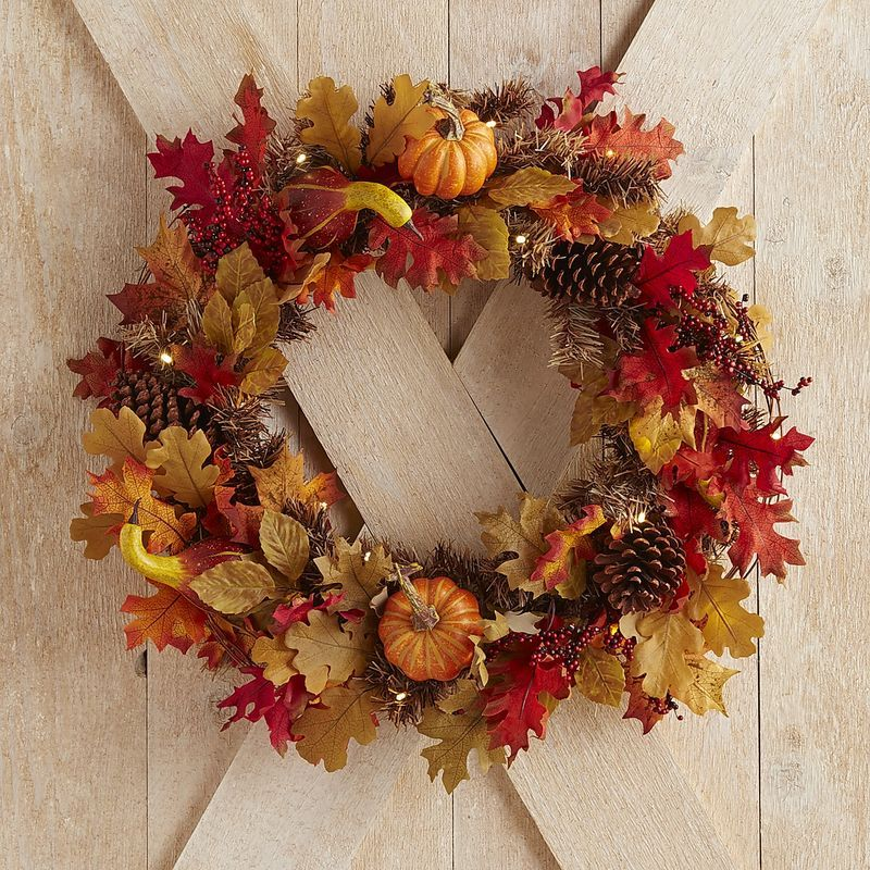 Faux Maple Leaves Pre-Lit Wreath | Pier 1 Imports