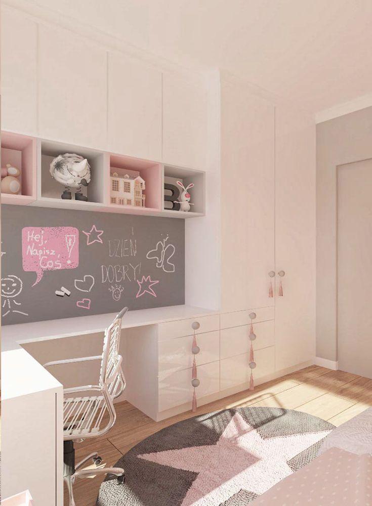 #Kinderzimmer #Mädchen #Gestaltungsidee #rosa #Sterne #Kindertapete  #Wandschrank #weiß