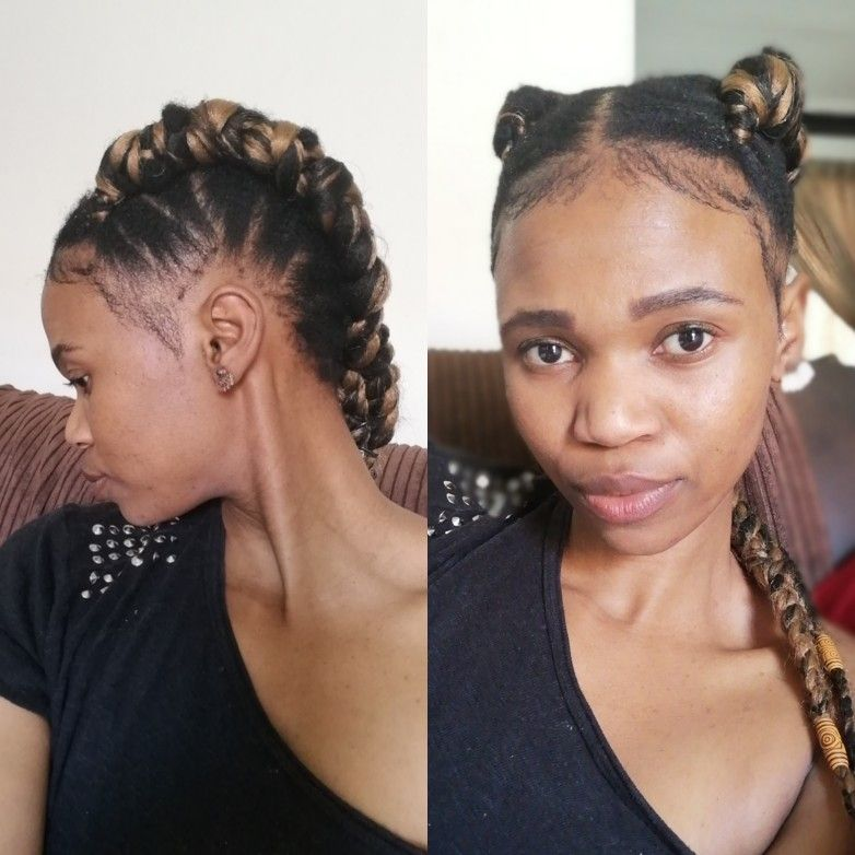 Two Line Cornrows I Applied Some Moisturizer And Then Hair Gel To Keep It Sleek And Last Lo Two Braid Hairstyles Cornrows Natural Hair Braided Hairstyles Easy
