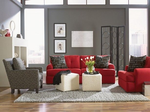 Red Sofa White Living Room La Z Boy And Ottoman 06s317 Alert How To Decorate With Agency Decor