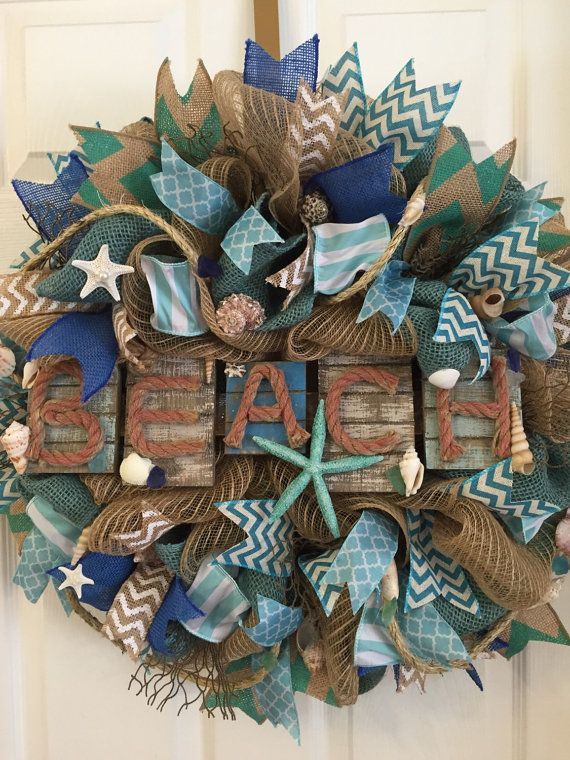 front beach door decor custom coastal sea your doors give lifes pin summer a wreath wreaths