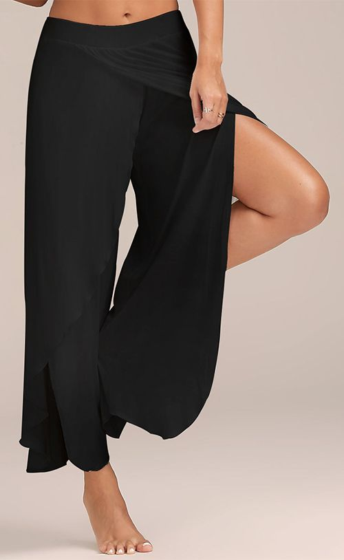 0696bac174491 High Slit Flowy Layered Wide Leg Pants | Bottom | Wide leg yoga ...