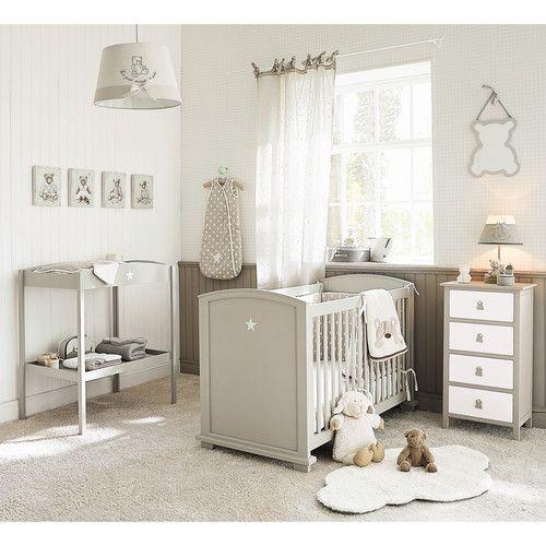 rideau a nouettes en coton beige 102 x 250 cm etoile rideau chambre bebe idee